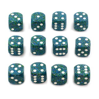12 'Sea' Speckled Six Sided Dice (16mm)