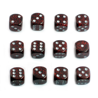 12 'Silver Volcano' Speckled Six Sided Dice (16mm)