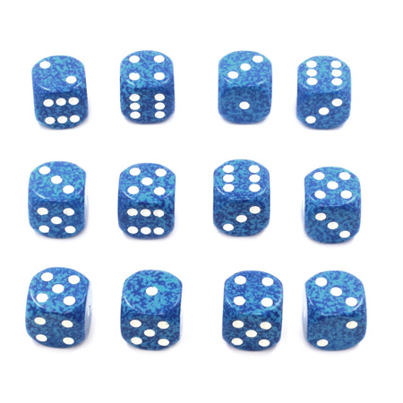 12 'Water' Speckled Six Sided Dice (16mm)