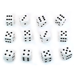 12 White and Black Six Sided Dice (16mm)