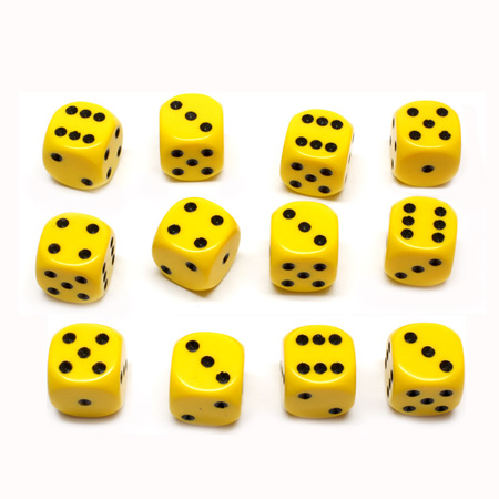 12 Yellow and Black Six Sided Dice