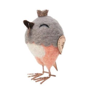 12cmh Xmas Wool Decoration-Bird W/Crown
