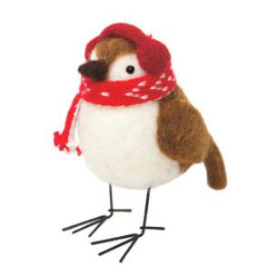 12cmh Xmas Wool Decoration-Bird W/Earmuffs