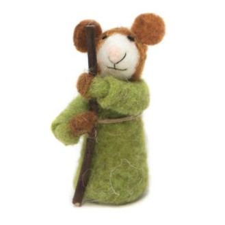 12cmh Xmas Wool Decoration-Mouse In Green Gown