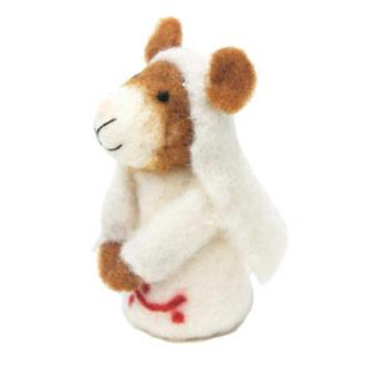 12cmh Xmas Wool Decoration-Nun Mouse
