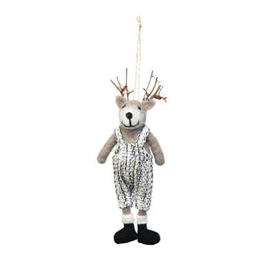 13cm Felt Leone Reindeer Deco - Grey