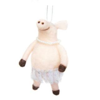 13cmh Xmas Wool Decoration-Ballerina Pig