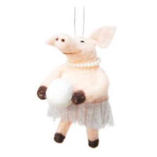 13cmh Xmas Wool Decoration-Ballerina Pig W/Snowball