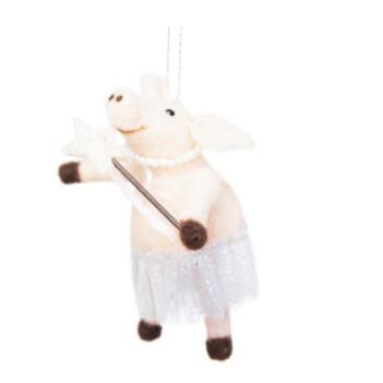 13cmh Xmas Wool Decoration- Fairy Pig