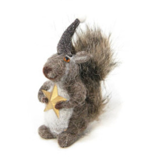 13cmh Xmas Wool Decoration-Reading Squirrel