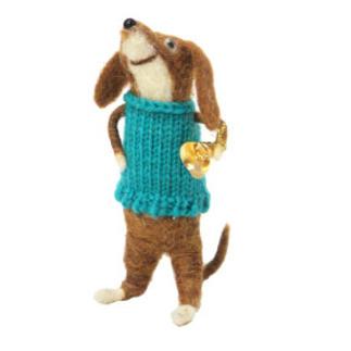 14cmh Xmas Wool Decoration-Dog In Jumper Vest
