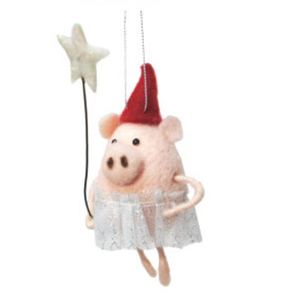 15cmh Xmas Wool Decoration-Pig Witch