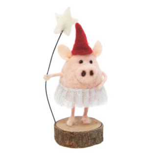 15cmh Xmas Wool Decoration-Pig Witch On Stand