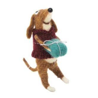 16cmh Xmas Wool Decoration-Dog W/Present
