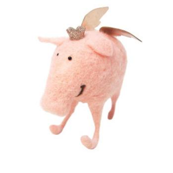 16cmh Xmas Wool Decoration- Flying Pig