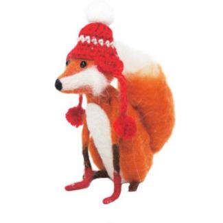 16cmh Xmas Wool Decoration-Fox W/Hat