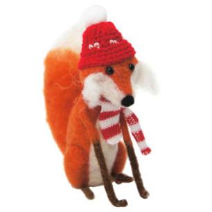 16cmh Xmas Wool Decoration-Fox W/Scarf