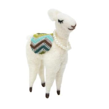 16cmh Xmas Wool Decoration-White Horse