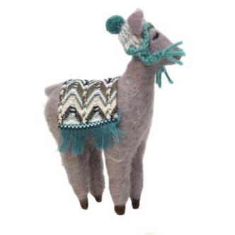 17cmh Xmas Wool Decoration-Grey Llama With Hat
