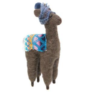 17cmh Xmas Wool Decoration-Llama With Blue Hat