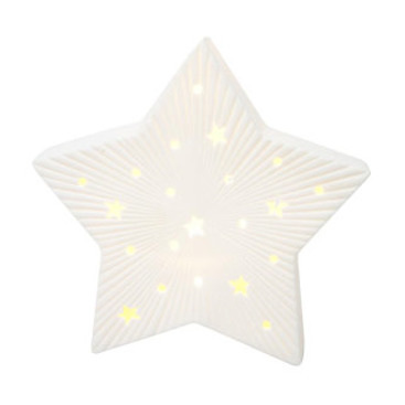 18.5cmh Led Ceramic Star Xmas Deco - White