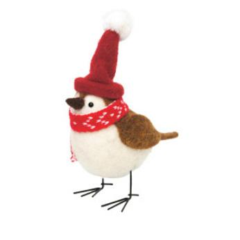 18cmh Xmas Wool Decoration-Bird W/Beanie Hat