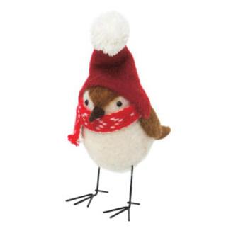 18cmh Xmas Wool Decoration-Bird W/Red Hat