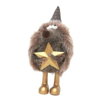 18cmh Xmas Wool Decoration-Hedgehog W/Hat