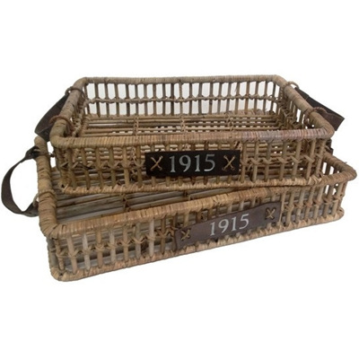 1915 Brand Serving Tray - Rattan