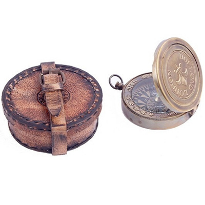 """2.5"""" Compass w Leather Case"""