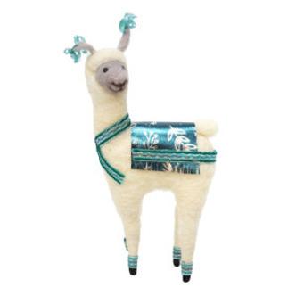 20cmh Xmas Wool Decoration-Llama