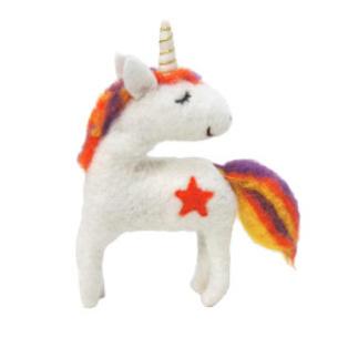21cmh Xmas Wool Decoration-Lg Unicorn