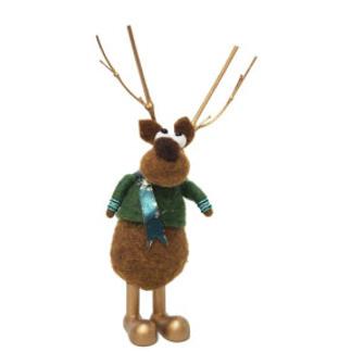 22cmh Xmas Wool Decoration-Lg Reindeer
