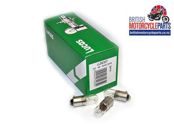 233 Pilot Light Bulb 12V 4W - Lucas LLB233T BA9s - British Motorcycle Parts Ltd