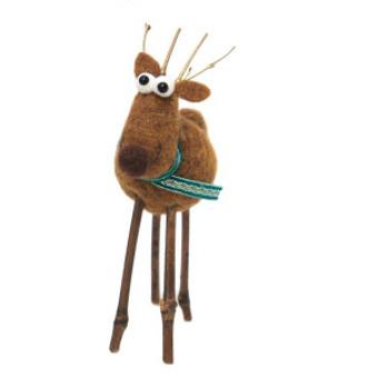 23cmh Xmas Wool Decoration-Reindeer W/Star