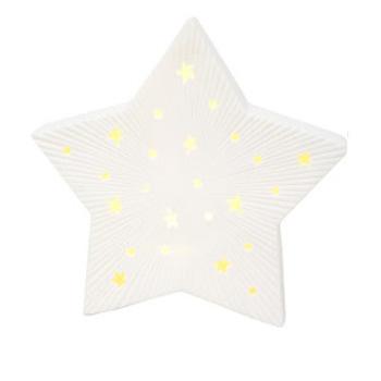 25cmh Led Ceramic Star Xmas Deco - White
