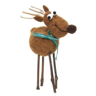 29cmh Xmas Wool Decoration-Reindeer W/Heart