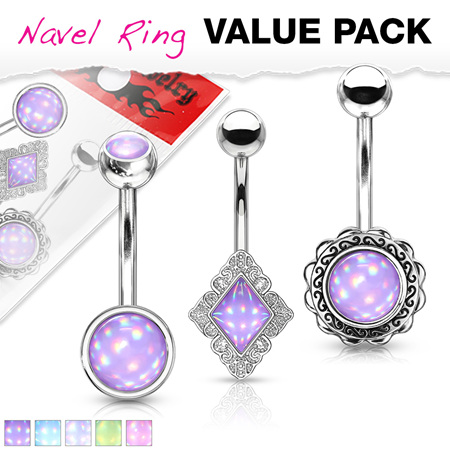 3 Pack Assorted Illuminating Stone Navel Rings