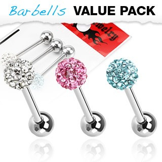 3 Pack  Assorted Tongue Bar w/ Multi Gem Ferido Ball