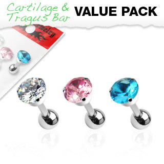 3  Pack Assorted Tragus/Cartilage Barbell w/ 5mm Round CZ 3-Prong Top