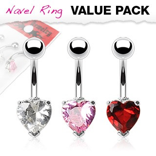 3 pack Heart Prong Set Navel
