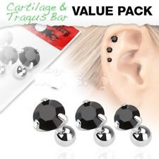 3 Pack of Assorted 316L Tragus Bar Round Gem Top - Other Colours