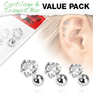 3 Pack of Assorted Cartilage Bar w/ Clear Hearts Gem Top - Other Colours