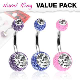 3 pc Value Pack Glitter Acrylic Navel w/ Gem Balls