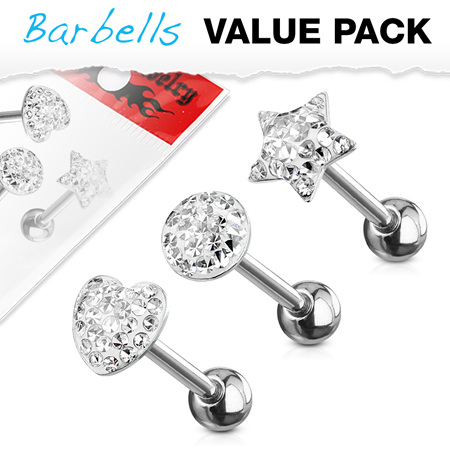 3 Pcs Assorted  Clear CZ Paved Tongue Bar Pack