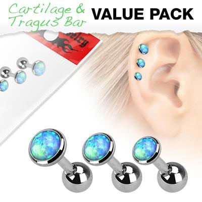 3 Pcs Cartilage Barbells w/ Opal Set Top