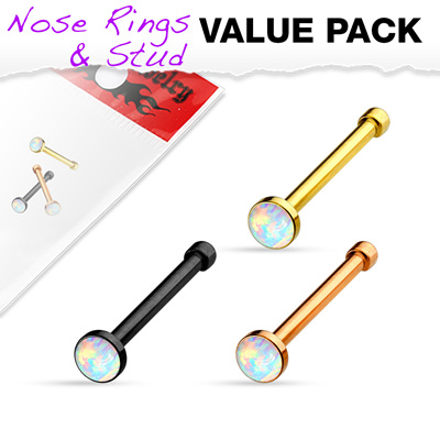 3 pcs Value Pack Opal Set IP  Nose Stud