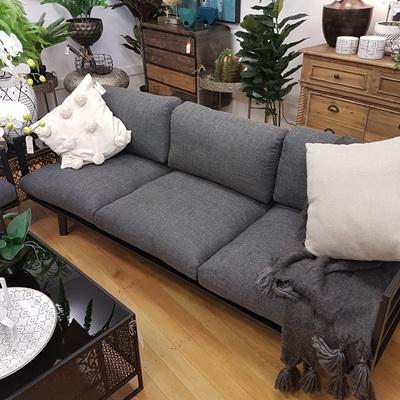3 Seater Sofa W/Grey Cushions