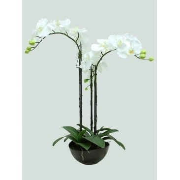3 Stems 65cm Artificial Orchid With Black Pot