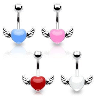316L Surgical Steel Angel Winged Epoxy Heart